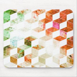 汚いオレンジか緑の幾何学的な箱パターン マウスパッド