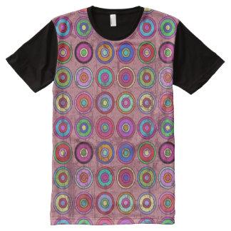 汚いレトロの円パターンピンク オールオーバープリントT シャツ
