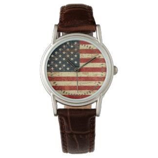 汚い米国旗 腕時計