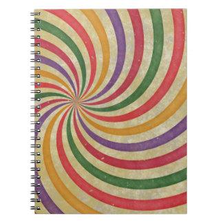 汚い素晴しい螺線形の太陽光線光線の渦巻のデザイン ノートブック