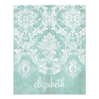 汚い終わりを用いる淡青色のヴィンテージのダマスク織パターン チラシ