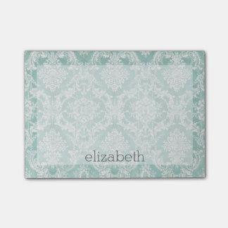 汚い終わりを用いる淡青色のヴィンテージのダマスク織パターン ポスト・イット®ノート