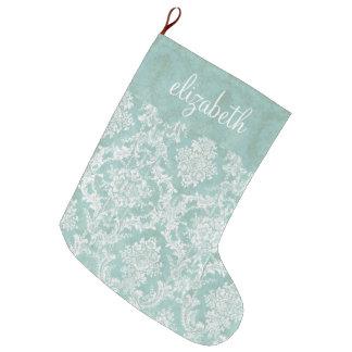 汚い終わりを用いる淡青色のヴィンテージのダマスク織パターン ラージクリスマスストッキング