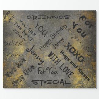 汚い金ゴールドの都市灰色の壁のセメントの通りの芸術 ラッピングペーパー