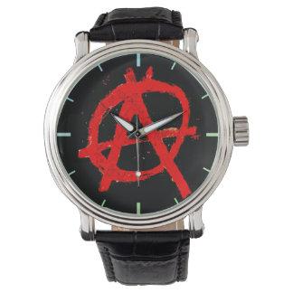 汚く赤い無秩序の記号 腕時計