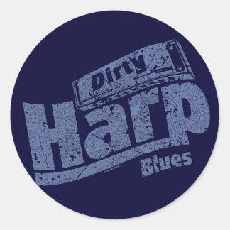 汚れたハープの青 ラウンドシール