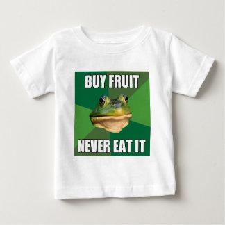 汚れた独身のカエルの買物のフルーツ ベビーTシャツ