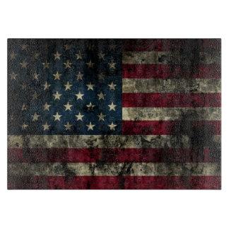 汚れた米国の旗のまな板 カッティングボード