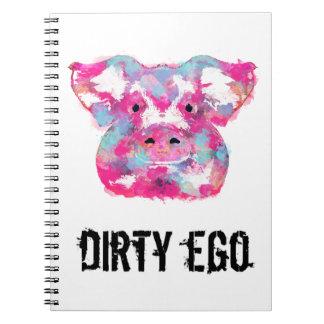 汚れた自我の大きいピンクのブタの汚れた自我の螺線形ノート ノートブック