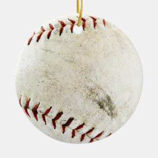 汚れた、よく愛される野球かソフトボール-! 陶器製丸型オーナメント
