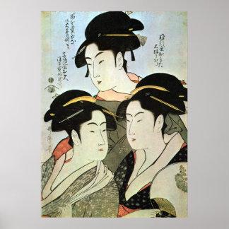 江戸の三美人、歌麿3の江戸、Utamaroの美しい女性 ポスター
