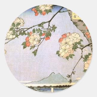 江戸の桜、江戸、Hiroshigeの広重の桜 ラウンドシール