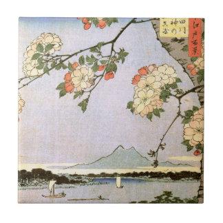 江戸の桜、江戸、Hiroshigeの浮世絵の広重の桜 タイル