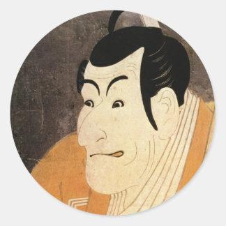 江戸の歌舞伎役者、Sharakuの浮世絵、写楽の江戸Kabuki俳優 ラウンドシール