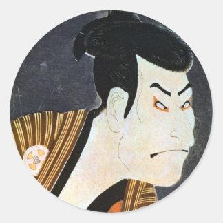 江戸の歌舞伎役者、Sharaku、写楽の江戸Kabuki俳優 ラウンドシール