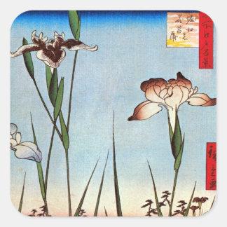 江戸の菖蒲、江戸、Hiroshigeの広重のアイリス スクエアシール