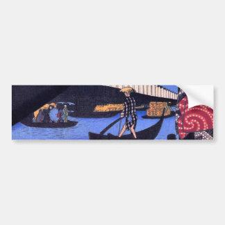 江戸の風景、江戸のHiroshigeの浮世絵の広重の景色 バンパーステッカー