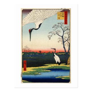江戸の鶴、江戸、Hiroshigeの広重クレーン ポストカード