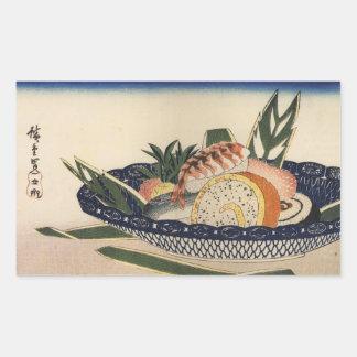 江戸前寿司、広重の寿司は、Hiroshigeの浮世絵ボーリングをします 長方形シール