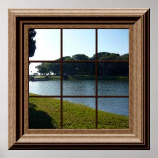 池との模造のな窓ポスター平和な景色 ポスター