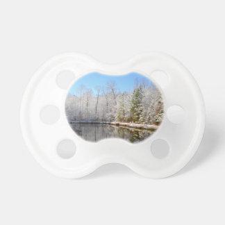池のまわりの雪で覆われた景色 おしゃぶり