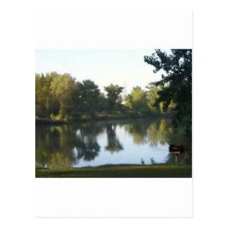 池の反射 葉書き