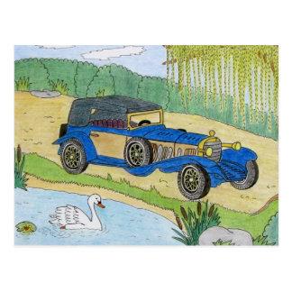 池の青い車 ポストカード