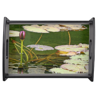 池水庭の《植物》スイレンの花の花柄Lilypads トレー