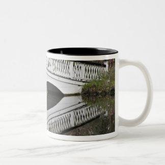 池、マグノリアに反映する橋 ツートーンマグカップ
