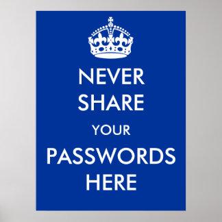 決してパスワードポスターをここに共有しないで下さい プリント