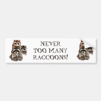 決して余りにも多くのアライグマのおもしろいな動物の引用文 バンパーステッカー