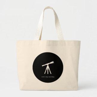 決して望遠鏡を捜すことを止めないで下さい ラージトートバッグ