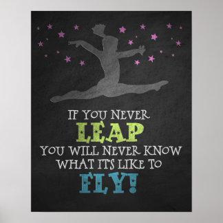 決して跳躍しなければ-感動的な体操の引用文 ポスター