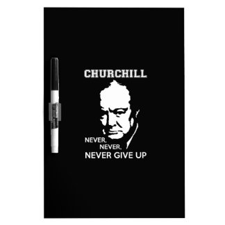決して、決して決してウィンストン・チャーチルの引用文をあきらめないで下さい ホワイトボード