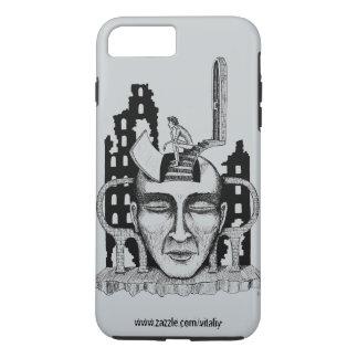 """""""決定""""インクペンの超現実的なスケッチの芸術 iPhone 8 PLUS/7 PLUSケース"""