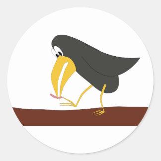 決闘-鳥およびみみず ラウンドシール