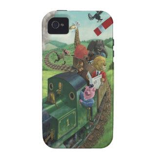 汽車の旅を楽しんでいる漫画動物 iPhone 4/4S CASE