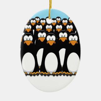 沈痛なペンギンの軍隊 陶器製卵型オーナメント