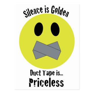 沈黙は金ガムテープです貴重です はがき