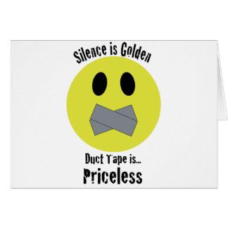 沈黙は金ガムテープです貴重です グリーティングカード