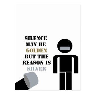 沈黙は金ガムテープのユーモアです はがき