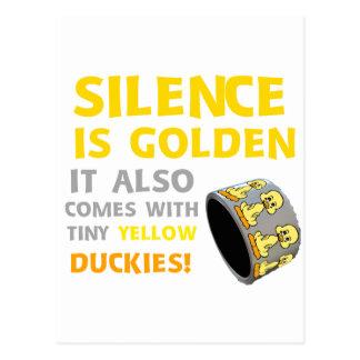 沈黙は金ゴム製ダッキーのガムテープのユーモアです ポストカード