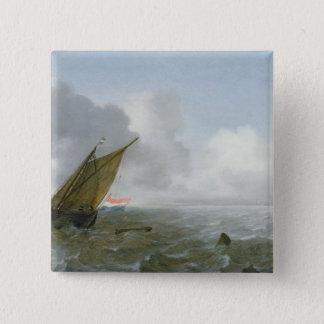 沖合いに微風、17世紀で出荷します 5.1CM 正方形バッジ