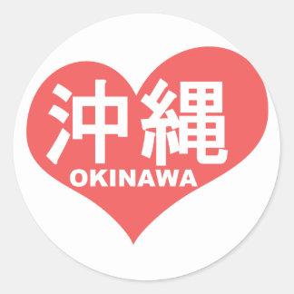 沖縄のハート ラウンドシール