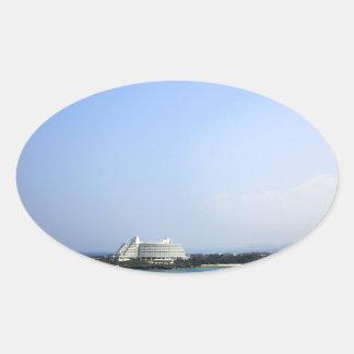 沖縄海と空 楕円形シール