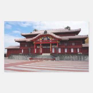 沖縄、日本のShuriの城 長方形シール
