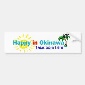 沖縄-私はで幸せここに生まれましたいました-バンパーステッカー バンパーステッカー
