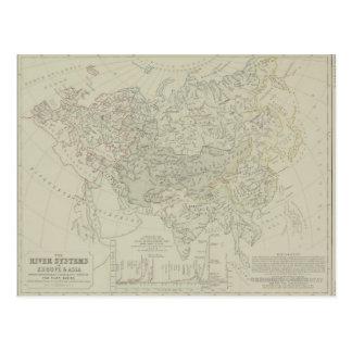 河川の旧式な地図 ポストカード