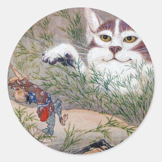 河鍋暁斎、monster cat ラウンドシール