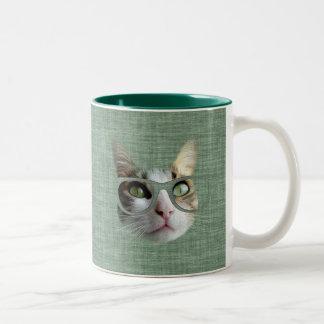 油のTouchの緑のヒップスター猫 ツートーンマグカップ